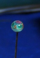 Glass Top Hat Pin with pink rose, Murano