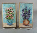 Pr of small Floral Oil Paintings, Blue