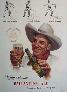 Ballantine Ale Mighty Welcome Ad 1948