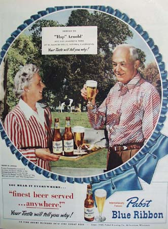 Pabst Beer And Hap Arnold And Wife Ad 1948