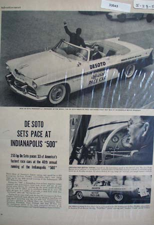 DeSoto Sets Pace Indianapolis 500 Picture 1956