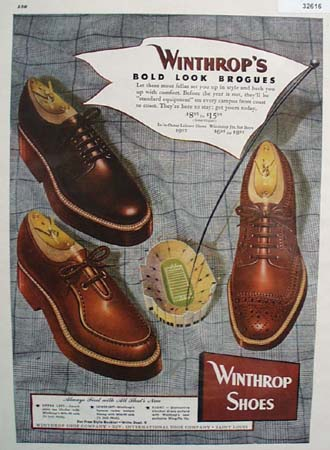 Winthrop Shoes Bold Look Brogues 1948 Ad