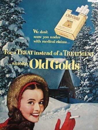 Old Gold Cigarette Snow Scene 1951 Ad