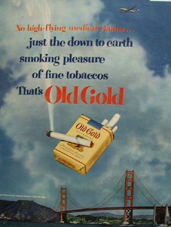 Old Gold Cigarettes Golden Gate Bridge 1951 Ad