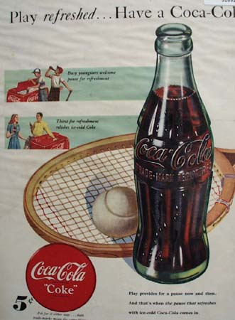 Coca Cola Tennis 1948 Ad