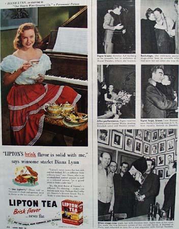 Lipton Tea Diana Lynn 1944 Ad