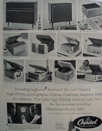 Capitol Phonographs. Recording Engineers 1957 Ad