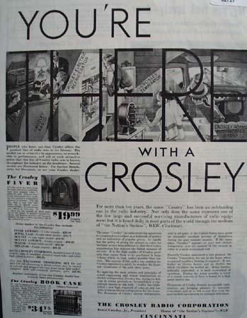 Crosley Radio And Appliances 1932 Ad