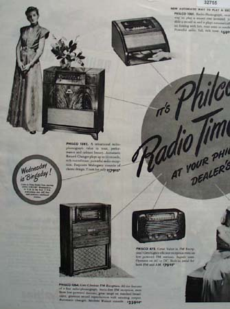 Philco Radio Phonograph Time 1947 Ad