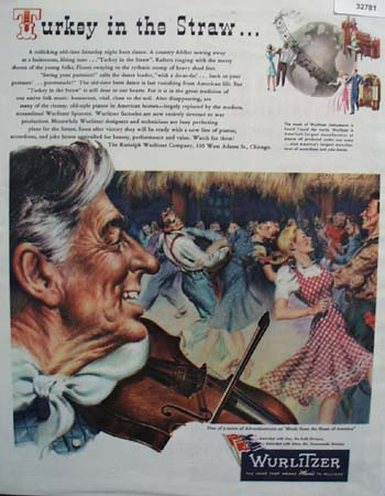 Wurlitzer Instruments Barn Dance 1945 Ad