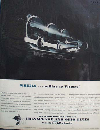 Chesapeake and Ohio Lines Wheels Rolling 1942 Ad