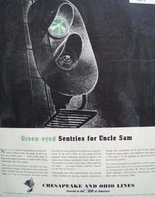Chesapeake and Ohio Lines Green eyed Sentries 1942 Ad