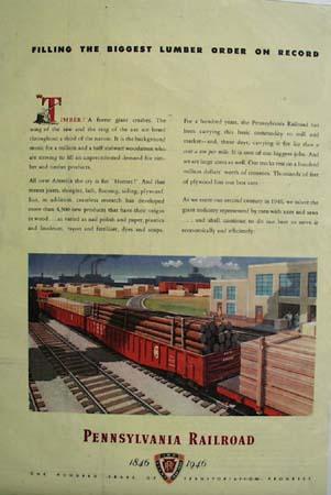 Pennsylvania Railroad Big Lumber Order 1946 Ad
