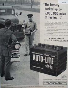 Auto Lite Battery Sta Ful 1957 Ad