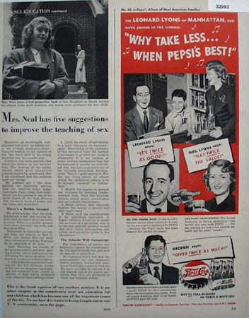 Pepsi Cola Real American Families 1949 Ad