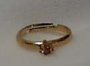 Gold Tone Pink Crystal Birthstone Childs Ring