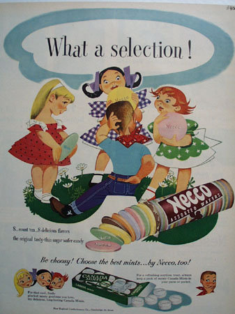 Necco Wafers And Canada Mints 1951 Ad