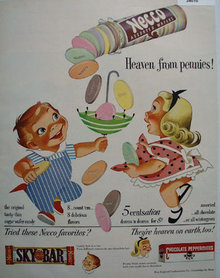 Necco Sugar Wafer Candy 1950 Ad