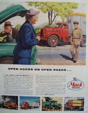 Mack trucks  Open Hoods 1955 Ad