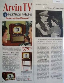 Arvin TV Visible Value 1950 Ad