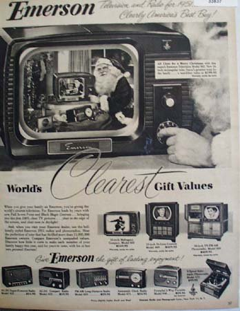 Emerson Radio And television Santa 1950 Ad