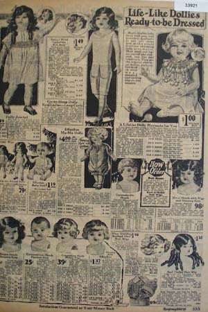 Montgomery Ward Dollies Ready to be Dressed 1925 Ad