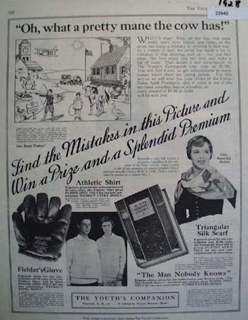 Youths Companion Prize and Premium 1928 Ad