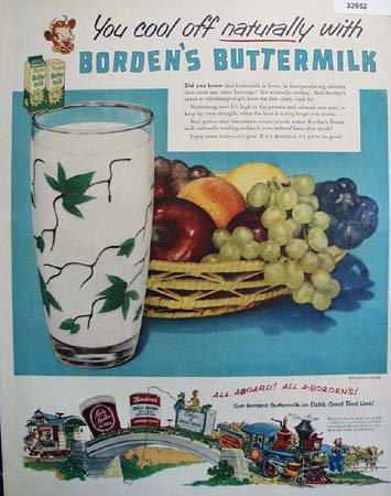 Bordens Buttermilk 1952 Ad