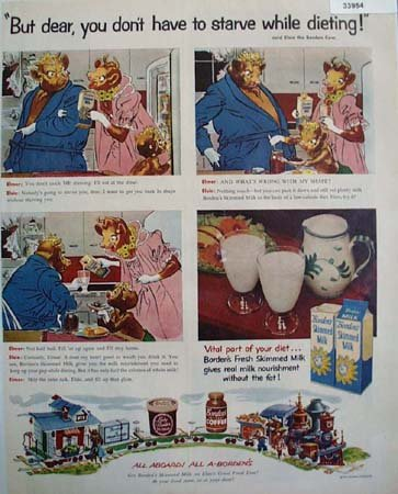 Bordens Elsie and Elmer Skimmed Milk 1955 Ad