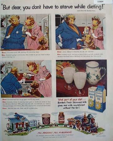 Bordens Elsie and Elmer Skimmed Milk 1955 Ad