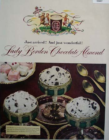 Lady Borden Chocolate Almond Ice Cream 1950 Ad