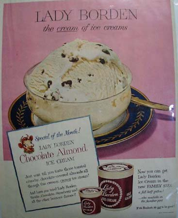 Lady Borden Chocolate Almond Ice Cream 1951 Ad
