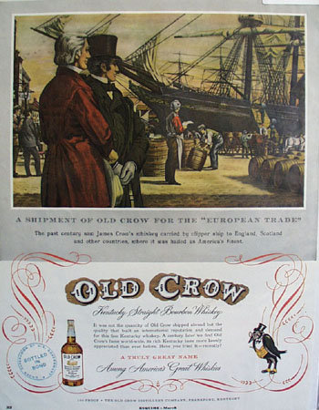Old Crow Whiskey Clipper Ship 1953 Ad
