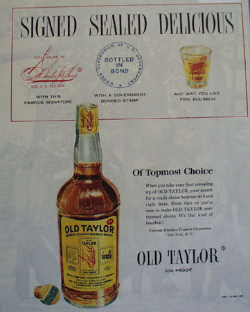 Old Taylor 100 Proof Whiskey 1950