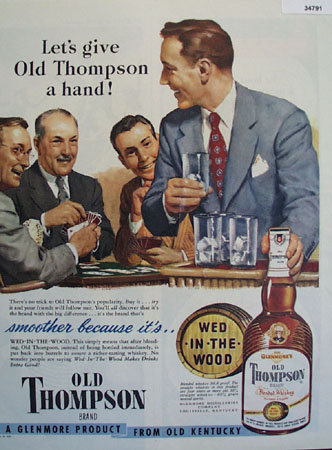 Old Thompson Whiskey A Glenmore Product 1949 Ad
