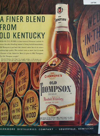 Glenmore Old Thompson Whiskey 1950 Ad