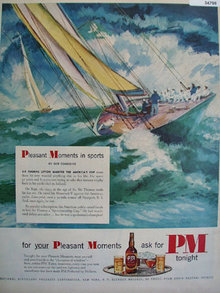 P M Whiskey Pleasant Moments in Sports 1951 Ad