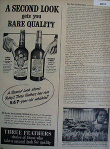 Three Feathers Blended Whiskey 1949 Ad