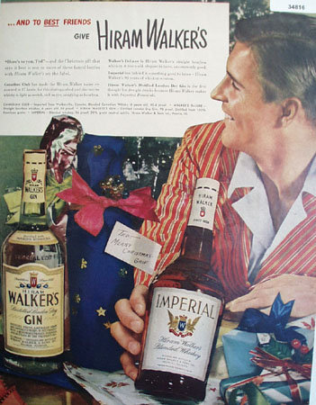 Hiram Walker Whiskies and Gin 1948 Ad