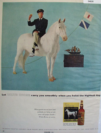 White Horse Blended Scotch Whiskey 1957 Ad