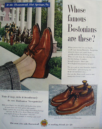 Bostonians Sweepstakes Shoes 1953 Ad