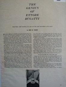 Ettore Bugatti Ken W. Purdy 1957 Article