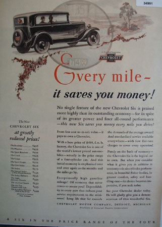 Chevrolet Motor Co. 1930 Ad.