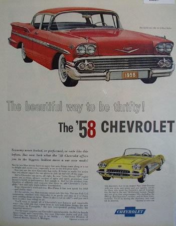 Stylish 58 Bel Air 4 Door Sedan 1957 Ad