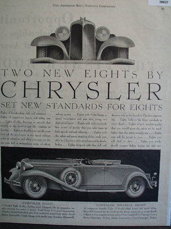 Chrysler New Eights 1930 Ad.