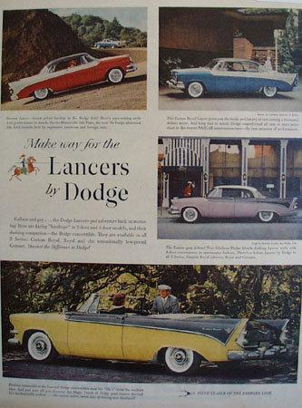 Dodge Lancers Cars 1956 Ad
