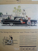 59 Dodge With Swing Out Seat 1958 Ad.