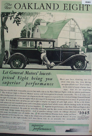 General Motors Oakland Eight 1930 Ad