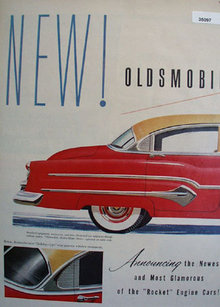 Oldsmobile Rocket 98 Car 1951 Ad.