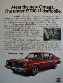 GM 73 Oldsmobile Omega 1972 Ad